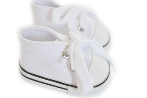 WHITE CANVAS SNEAKERS FOR AMERICAN GIRL DOLLS AND BITTY TWINS