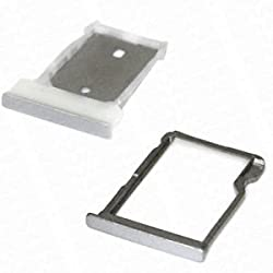 ssimpex® SILVER SIM Card Reader Holder Tray for HTC One M9 + Memory Card Reader Holder SD Card Tray Repair Replacement for HTC One M9 Droid (SILVER)