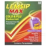 Lemsip Max Cold and Flu Blackcurrant 10 sachets pack