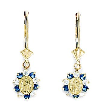 14ct Yellow Gold Deep Blue CZ Small Virgin Mary Drop Leverback Earrings - Measures 26x8mm