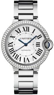 Cartier Ballon Bleu Ladies-Large White Gold Diamond Automatic Watch WE9006Z3