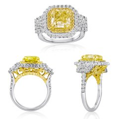 5.25 Ct Fancy Yellow Three Stone Diamond Ring (YDRAD 3.27ct, TRAP 0.47ct, DRD 0.72ct, RD 0.79ct)