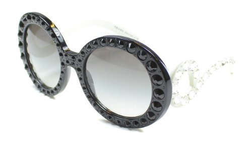 prada Prada 31PS 2AX0A7 Black and White Crystals 31PS Ornate Round Sunglasses Lens Ca