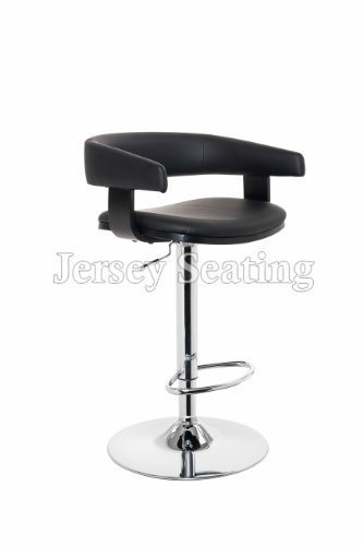 New Black JERSEY SEATING Leather Air Lift Swivel Counter Adjustable Bar Stool.