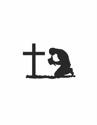 Man Praying With Cross Religion Religious Church God Christ - Peel & Stick Sticker - Vinyl Wall Decal - - Discounted Sale Item Size : 12 Inches X 18 Inches - 22 Colors Available front-456217