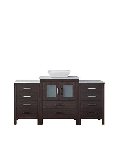 Virtu USA Dior 64 Single Bath Vanity Cabinet, Espresso/White Marble
