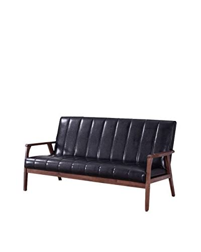 Baxton Studio Nikko Mid Century Faux Leather 3-Seater Sofa