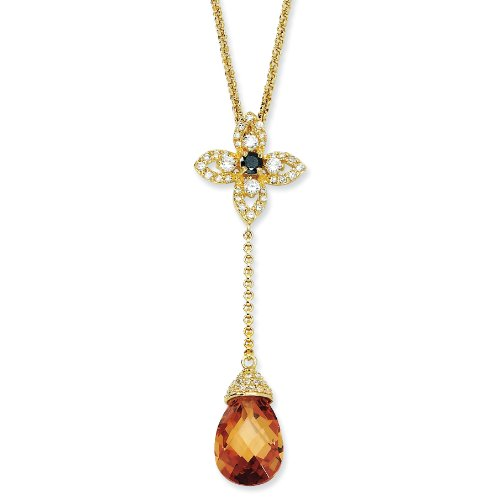 Gold-plated Sterling Silver Champagne/Black/White CZ 18 Inch Y-drop Necklace