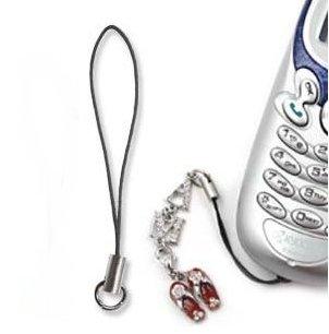 Cell Phone Strap Black/ Silver Tone Split Ring (10)