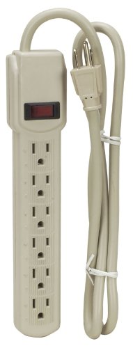 6 Outlet Surge Protector Power Stip 4' Cord
