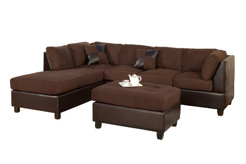 Black friday bobkona hungtinton microfiber faux leather 3 for Microfiber faux leather 3 piece sectional sofa set