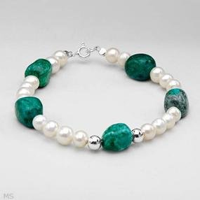 Wonderful Brand New Bracelet With 24.30ctw Precious Stones - Genuine Jaspers and 5.5 - 6.5mm Freshwater Pearls Made in 925 Sterling silver