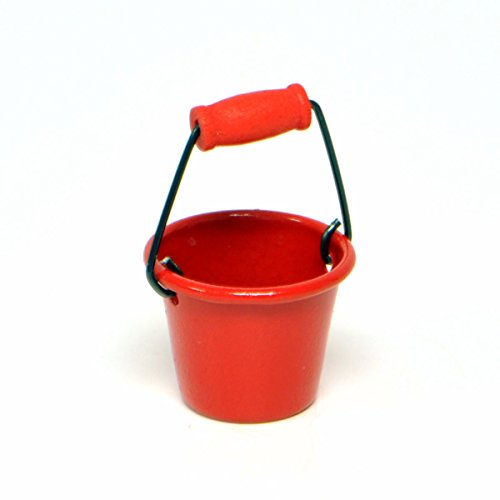Miniature Fairy Garden Red Metal Pail - 1