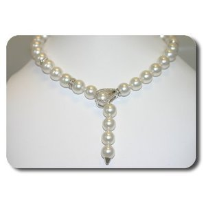 Giselle Diamond 18K South Sea Pearl Necklace - White