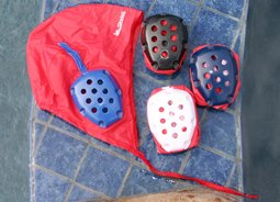 Sprint Water Polo Goalie Cap Red with Blue Ear Protection Guard #1