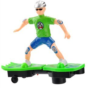 Funny 3 Aa Powered All-Direction Rotatable Electric Skateboard Toy With Colorful Lights & Music