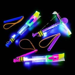 24pc Amazing Led Light Arrow Rocket Helicopter Flying Toy Party Fun Gift Elastic - 1