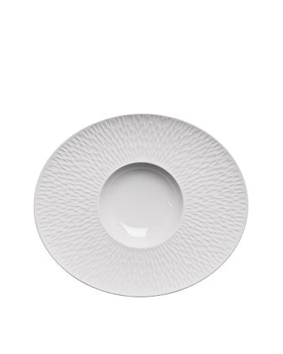 Guy DeGrenne Oval Satin White Boreal Gourmet Plate, White