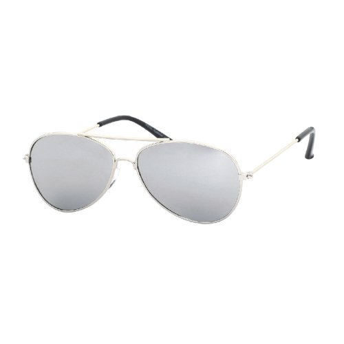 Children's Silver Mirrored Aviator Sunglasses with Silver Frames & Mirrored Lenses
