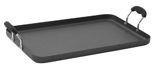 """Hard Anodized Double Burner Griddle Non-Stick Aluminum 19½"""" X 12"""", Black"""