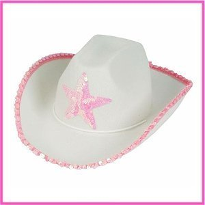 White Felt Cowgirl Cowboy Hat With Pink Star [Health and Beauty]