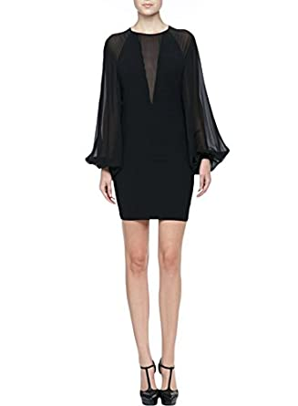 Damen Kleid Chiffon kleid Sommerkleid Freizeit Festlich Business Kleid Gr.36-44 (36/S, Schwarz)