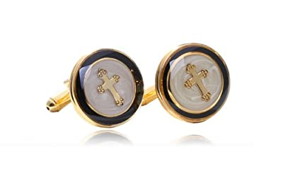 Digabi Men's Jewelry Luxury Cross Shape Design Cufflinks Cuff for Men Color Gold