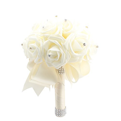 OurWarm® Ivory Crystal Pearl Silk Rose Bridal Wedding Bouquet,Pack of 1