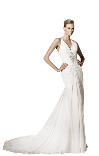 Sheath/Column V-Neck Court Train Chiffon Wedding dress with Ruched/Beading