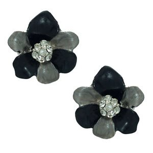 Eileen Silver Black Grey Crystal Flower Clip On Earrings