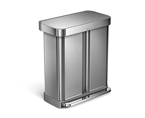 simplehuman Liner Rim Dual Bucket Rectangular Recycler with Liner Pocket, Stainless Steel, 58 Liter / 15 Gallon (Trash Can Recycling compare prices)
