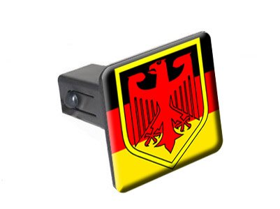 "German Flag And Crest - 1 1/4 (1.25"") Tow Trailer Hitch Cover Plug Insert"