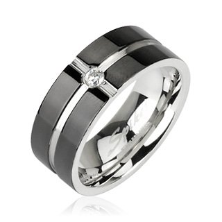 316L Surgical Stainless Steel Ring with Layered Crossing Black IP with CZ Center; Comes With Free Gift Box (8)