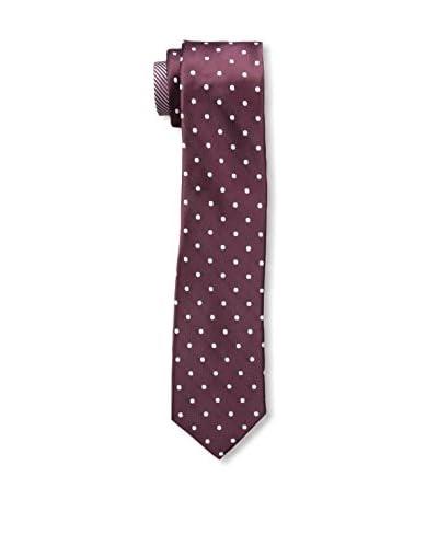Zenio Men's Regular Dot/Stripe Double Tail Skinny Tie, Burgundy