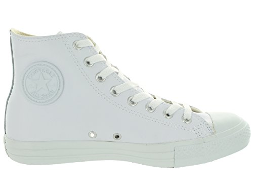 Converse Mens Unisex Chuck Taylor All Star Leather Hi Fashion Sneaker Shoe, White Monochrome, 8