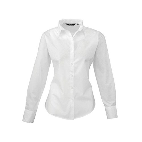 Women's poplin long sleeve blouse, Ladies Plain Work Shirt-White-Size 16