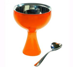 Alessi - Bol Orange Et Cuillère À Glace A Di Big Love