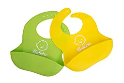 Waterproof Silicone Bib with Snaps & Crumb Catcher by Babiére. Infant & Toddler Bibs for Boys & Girls. Stain-Resistant, Easily Wipes Clean & Fast Drying. Soft Feeding Bibs (2 Pack - Green/Yellow)