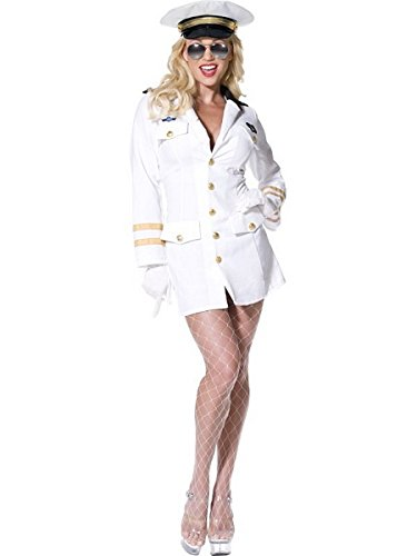 Smiffys Top Gun Officer, White, With Dress, Hat - S, M, L