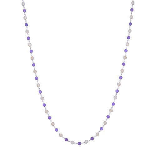 Citrine with amethyst gem stone silver chain (multicolor)