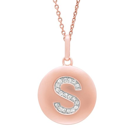 14K Rose Gold Diamond Initial S Disc Pendant