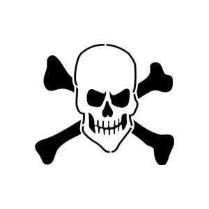 Evil Skull and Crossbones Stencil - 24 inch (at longest point) - 7.5 ...