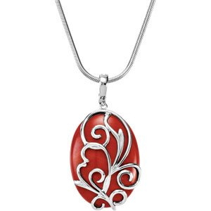 Elegant and Stylish 30.00X22.00 MM Genuine Red Jasper Pendant Enhancer in Sterling Silver , 100% Satisfaction Guaranteed.