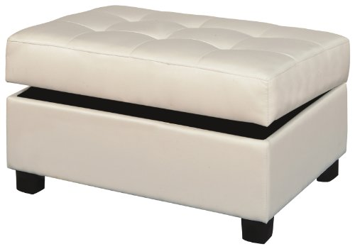 cheap bobkona bonded leather match storage ottoman cream home
