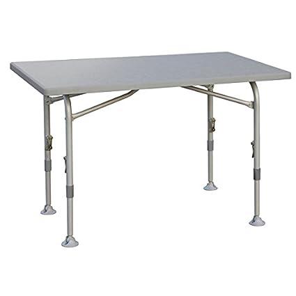 Mesa plegable-con cierre central-gestel-Mesa de camping resistente de aluminio 115x 70cm-Color GRIS CLARO-Altura regulable de 58a 72cm-28mm aluminio&nbsp