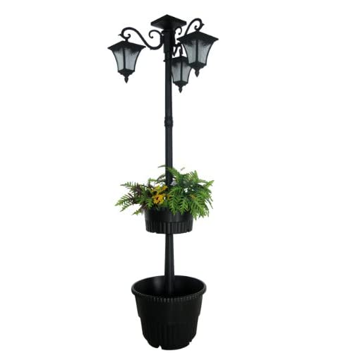 Madison Double Planter Solar Lamp Post And Planter Black