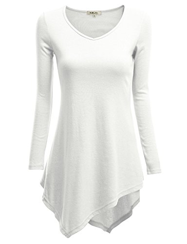 Doublju Women Basic Round Neck Long Sleeve Big