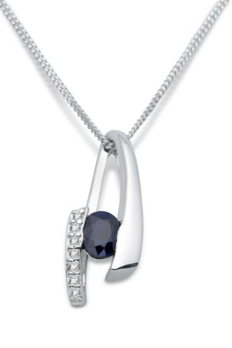 Miore 9ct White Gold Neckwear Blue Sapphire and Diamond Pendant on 45cm Curb Chain MH9023N