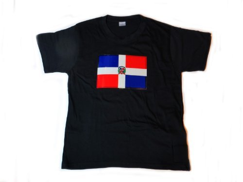 Dominican Republic Flag LED Flashing Sound Activated Light Up Shirt (Large – L)