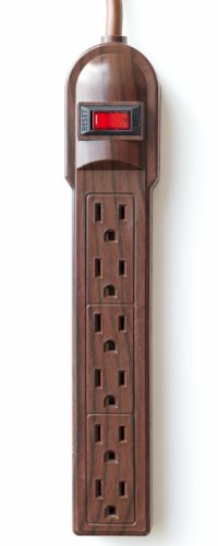 The Invisiplug DO003 6 Outlet Power Strip, Dark Oak